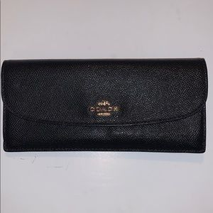 Coach Crossgrain Leather Slim Wallet F54008 Black